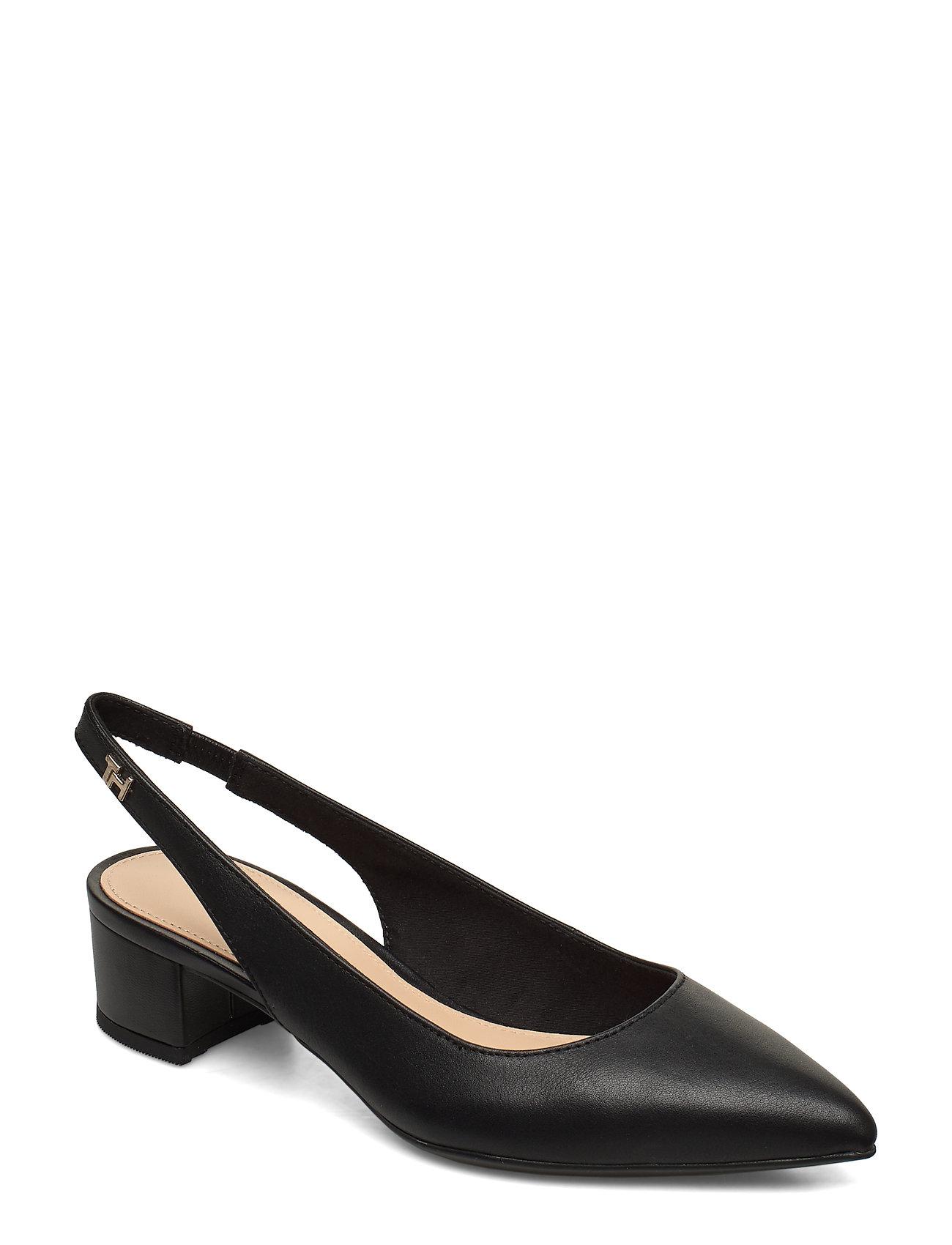 Image of Feminine Leather Mid Heel Pump Shoes Heels Pumps Sling Backs Sort Tommy Hilfiger (3359211239)
