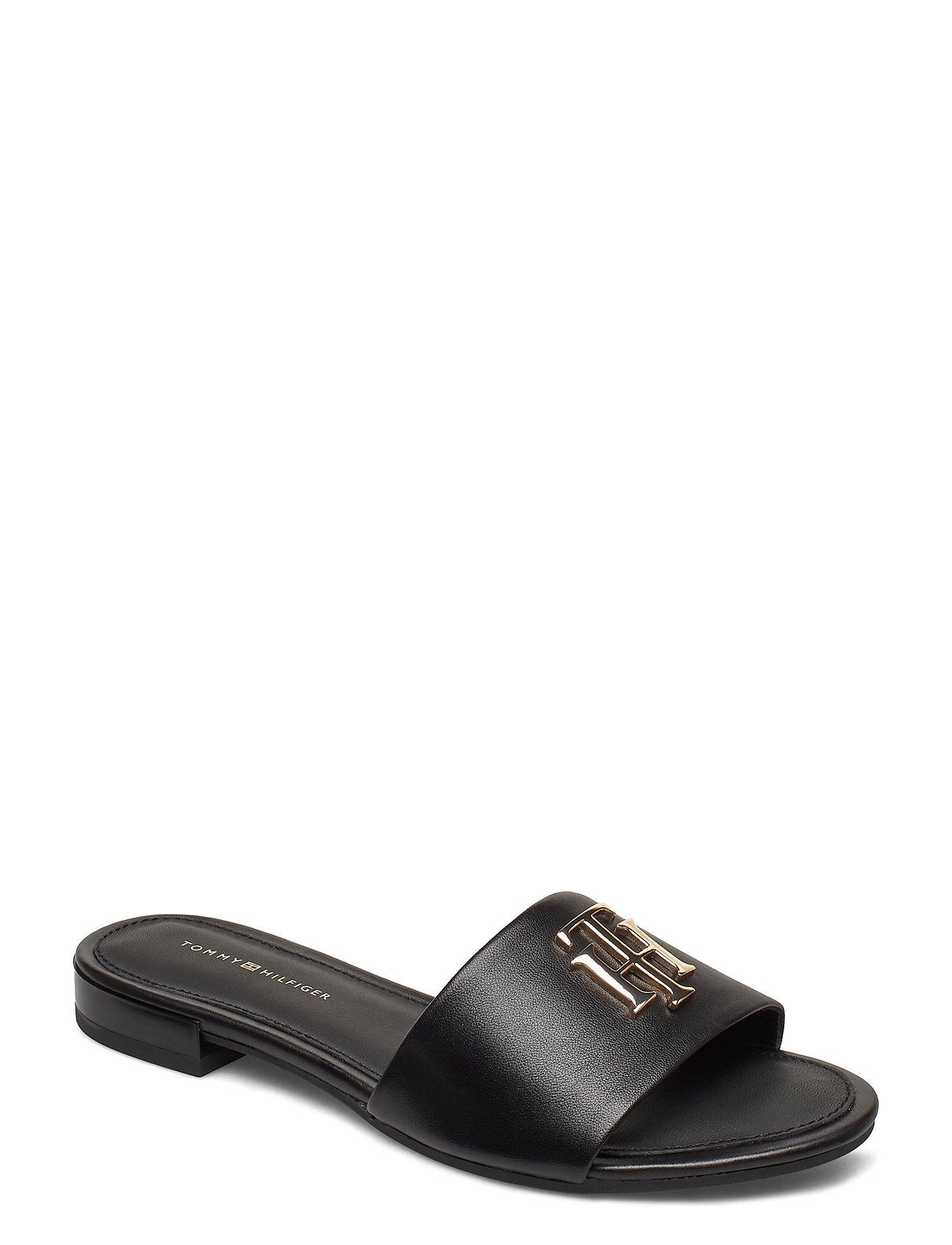 Image of Th Hardware Flat Mule Shoes Summer Shoes Flat Sandals Sort Tommy Hilfiger (3426780609)