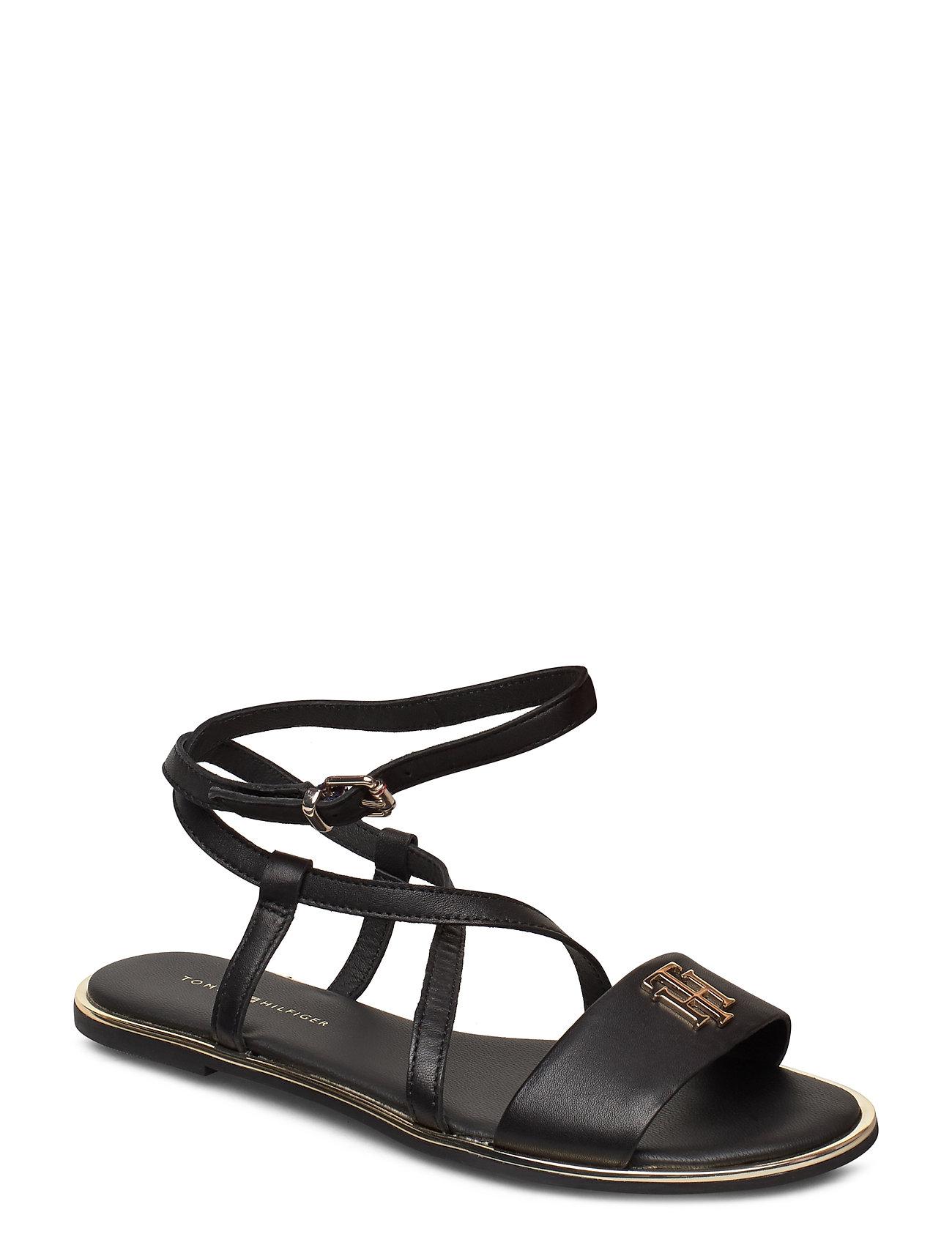Image of Th Hardware Flat Sandal Shoes Summer Shoes Flat Sandals Sort Tommy Hilfiger (3426780601)