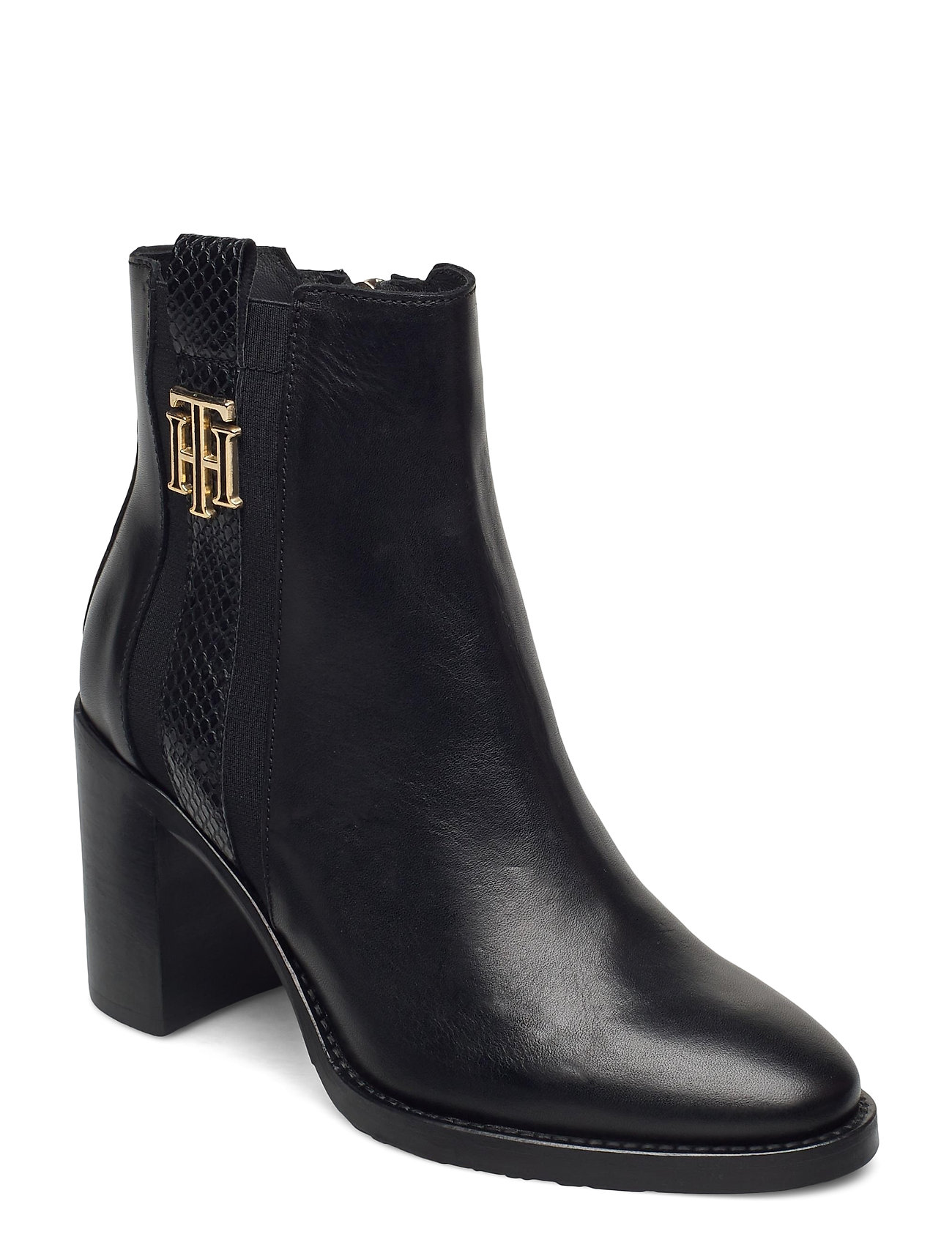 Image of Th Interlock High Heel Boot Shoes Boots Ankle Boots Ankle Boot - Heel Sort Tommy Hilfiger (3463420125)