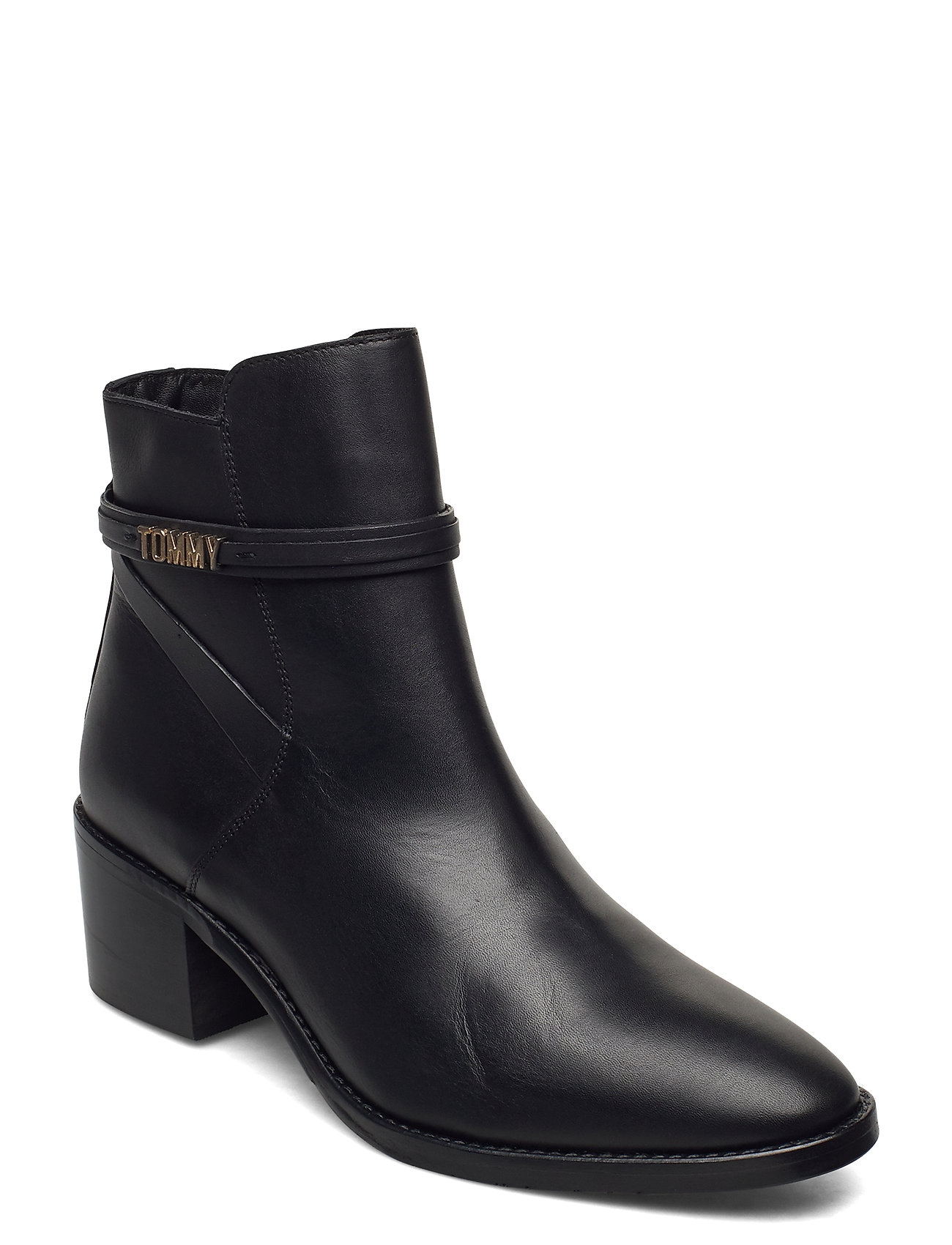 Image of Block Branding Leather Mid Boot Shoes Boots Ankle Boots Ankle Boot - Heel Sort Tommy Hilfiger (3452759805)
