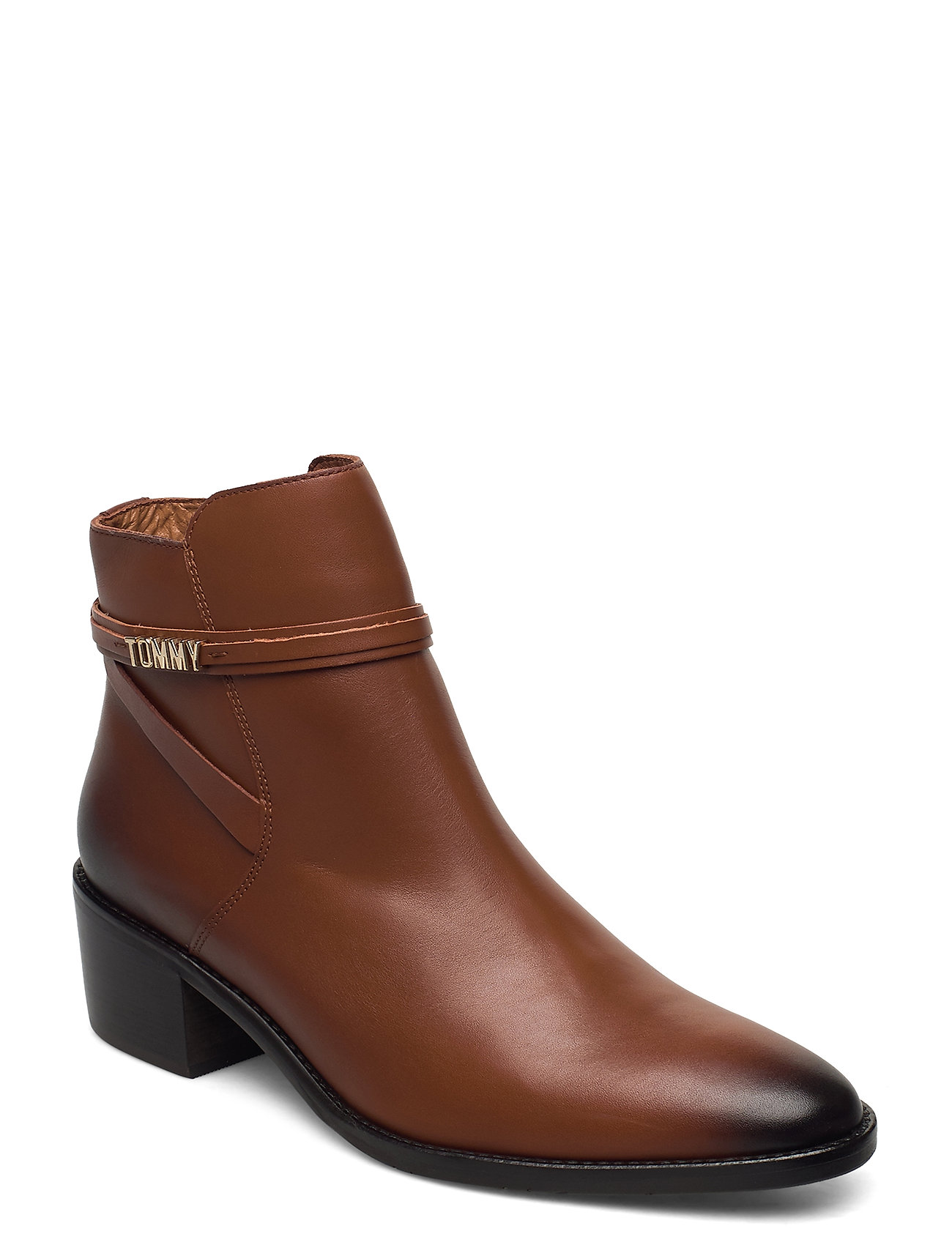 Image of Block Branding Leather Mid Boot Shoes Boots Ankle Boots Ankle Boot - Heel Brun Tommy Hilfiger (3452759807)