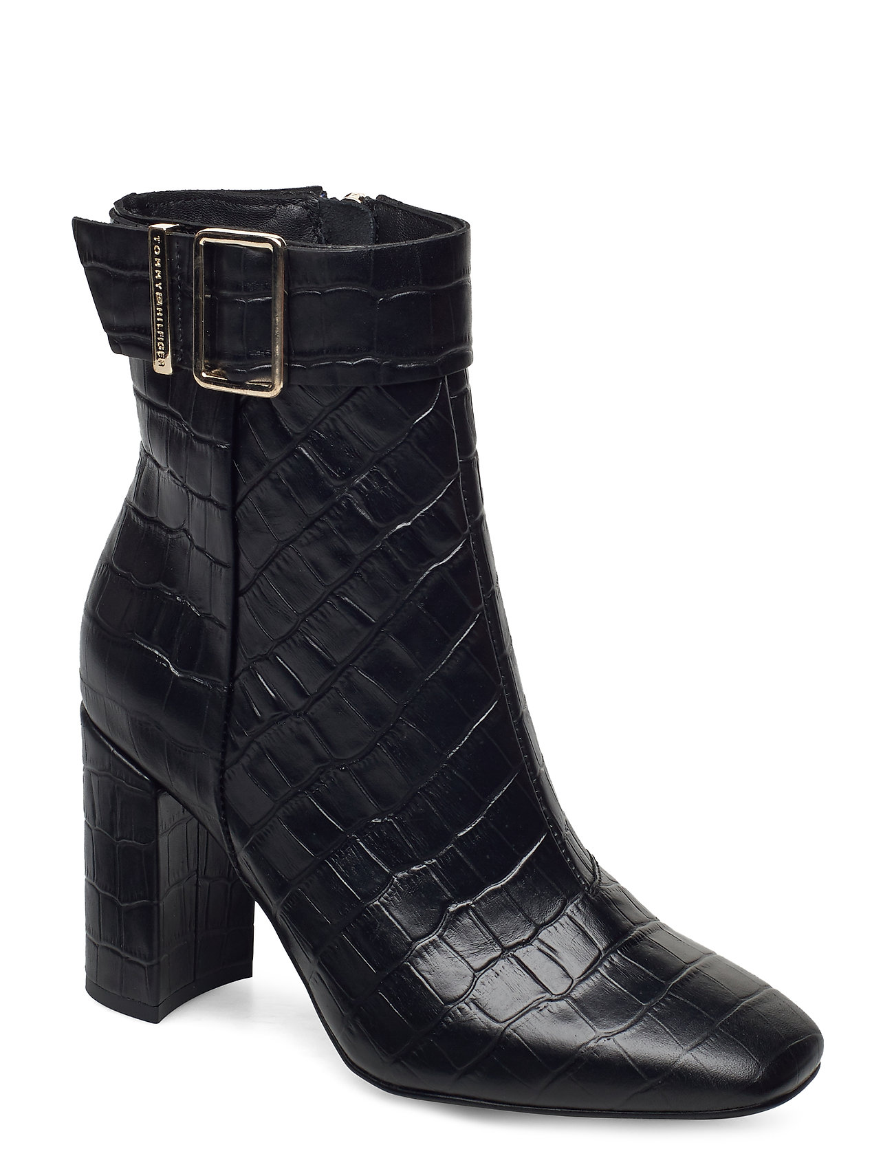 Image of Croco Look High Heel Boot Shoes Boots Ankle Boots Ankle Boot - Heel Sort Tommy Hilfiger (3448709345)