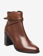 Tommy Hilfiger - TH HARDWARE LEATHER HIGH BOOT - ankelstøvletter med hæl - coffee - 0