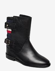 Tommy Hilfiger - MODERN BLANKET WEDGE BOOTIE - flate ankelstøvletter - black - 0