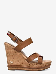 Tommy Hilfiger - CORP LEATHER  WEDGE SANDAL - heeled espadrilles - summer cognac - 1