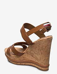 Tommy Hilfiger - CORP LEATHER  WEDGE SANDAL - heeled espadrilles - summer cognac - 2