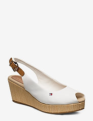Tommy Hilfiger - ICONIC ELBA SLING BACK WEDGE - sleehakken - ivory - 0