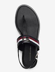 Tommy Hilfiger - CORPORATE LEATHER FLAT SANDAL - flade sandaler - black - 3