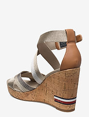 Tommy Hilfiger - CORPORATE TH HIGH WEDGE SANDAL - heeled sandals - stone - 2