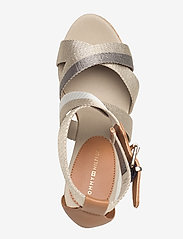 Tommy Hilfiger - CORPORATE TH HIGH WEDGE SANDAL - heeled sandals - stone - 3