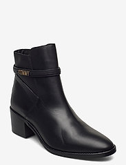 Tommy Hilfiger - BLOCK BRANDING LEATHER MID BOOT - heeled ankle boots - black - 0
