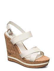 CORP LEATHER  WEDGE SANDAL - WHITE