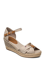 BASIC OPEN TOE MID WEDGE - STONE