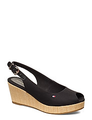 ICONIC ELBA SLING BACK WEDGE - BLACK