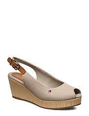 ICONIC ELBA SLING BACK WEDGE - STONE