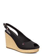 ICONIC ELENA SLING BACK WEDGE - BLACK