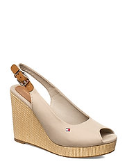 ICONIC ELENA SLING BACK WEDGE - STONE