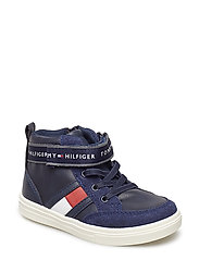 LACE-UP/VELCRO HIGH TOP SNEAKR