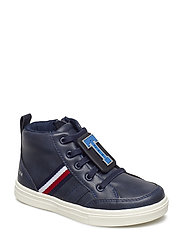 LACE-UP HIGH TOP SNEAKER - BLU