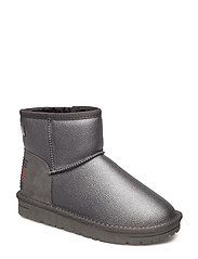 FUR BOOT - METALLIC DARK SILVER