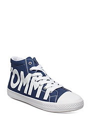 HIGH TOP LACE-UP SNEAKER - BLU/BIANCO