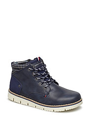 LACE-UP BOOTIE - BLU