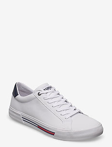 ESSENTIAL LEATHER SNEAKER - lav ankel - white