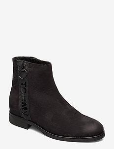 TOMMY JEANS ZIP FLAT BOOT - flate ankelstøvletter - black