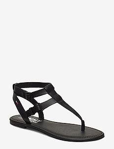 TOMMY JEANS FLAT SANDAL - flade sandaler - black