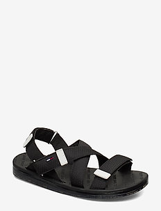 TOMMY SURPLUS FLAT SANDAL - BLACK