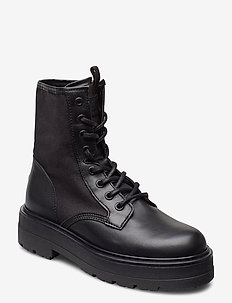 TOMMY JEANS FLATFORM BOOT - flade ankelstøvler - black