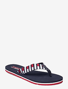 FLAG WEBBING BEACH SANDAL - flat sandals - twilight navy