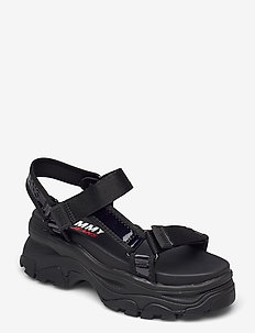 IRIDESCENT HYBRID SANDAL - flat sandals - black