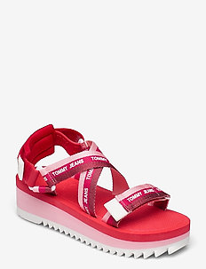 LUREX WEBBING STRAPPY SANDAL - flat sandals - bubble pink