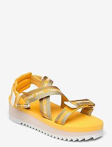 LUREX WEBBING STRAPPY SANDAL - flat sandals - florida orange