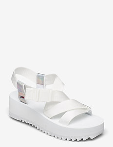 IRIDESCENT STRAPPY SANDAL - flat sandals - white