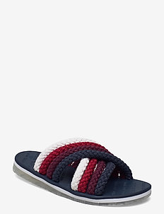 CROSS STRAP MULE SANDAL - flat sandals - twilight navy