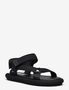 TOMMY JEANS SPORTY SANDAL - flat sandals - black