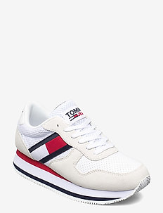 TOMMY JEANS FLATFORM RUNNER - sneakers - white