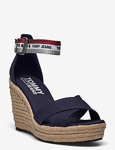 LUREX WEBBING WEDGE SANDAL - heeled espadrilles - twilight navy