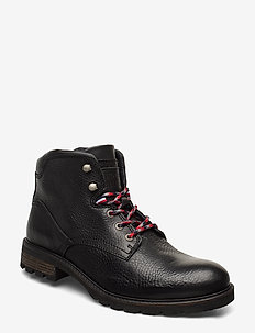 WINTER TEXTURED LEATHER BOOT - BLACK
