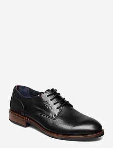 ELEVATED LEATHER MIX SHOE - BLACK