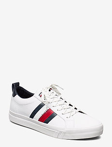FLAG DETAIL  LEATHER SNEAKER - WHITE