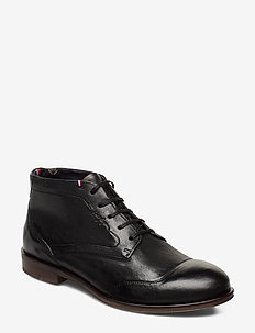 DRESS CASUAL LEATHER BOOT - med snøre - black