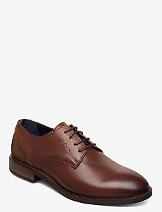 ELEVATED LEATHER MIX SHOE - laced shoes - winter cognac