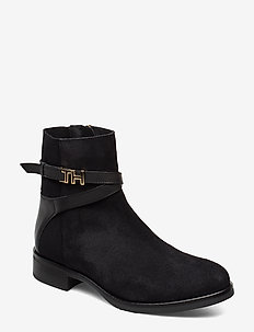 TH HARDWARE SUEDE FLAT BOOTIE - BLACK