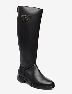 ESSENTIAL LEATHER LONGBOOT - høye boots - black
