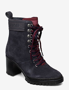 SPORTY OUTDOOR MID HEEL LACE UP - ankelstøvler med hæl - ebony