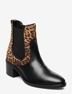 LEO PRINT CHELSEA - ankelstøvler med hæl - black